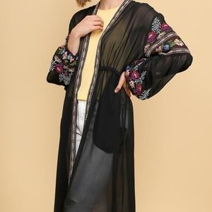 Umgee Black Embroidered Sheer Duster Cardigan